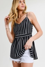 Black striped tank w/tie back