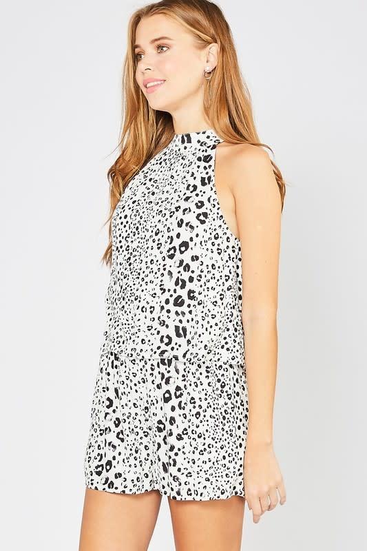 Off white cheetah print overlay romper
