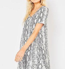Grey snake skin print V neck dress