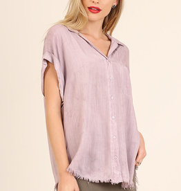 Mauve washed button up top w/frayed hem