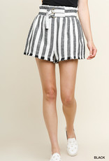 Black & white stripe high waisted, belted shorts
