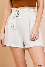 Linen blend high waisted shorts w/elastic waist & belt