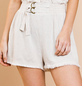 Linen blend high waisted shorts w/elastic waist & belt