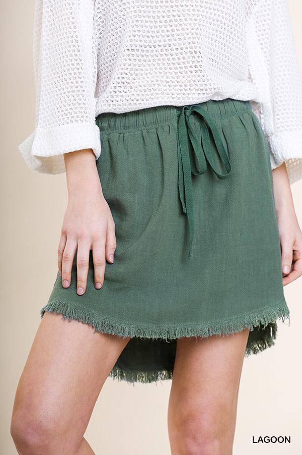 Lagoon linen blend drawstring skirt w/raw hem