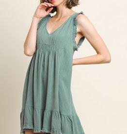 Lagoon linen blend sleeveless freyed edges dress