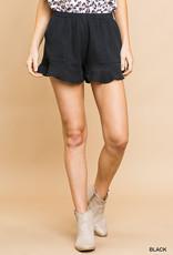 Black ruffle trim shorts