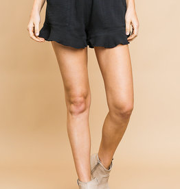 Black ruffle trim shorts