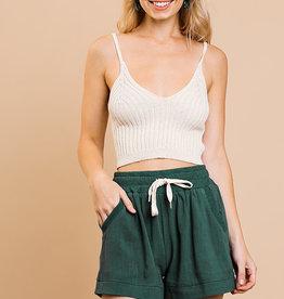 Seaweed linen blend drawstring shorts