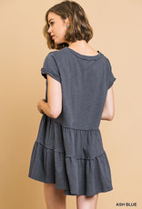 Ash blue ss V neck tiered tunic