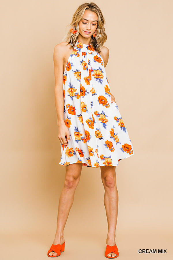 Cream floral print sleeveless smocked neck dress