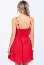 Spaghetti strap dress w/ruffle trim & smocked back
