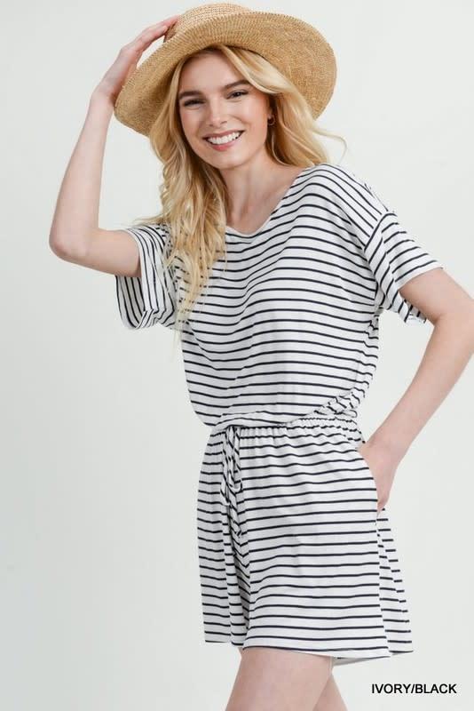 White & black striped ss romper