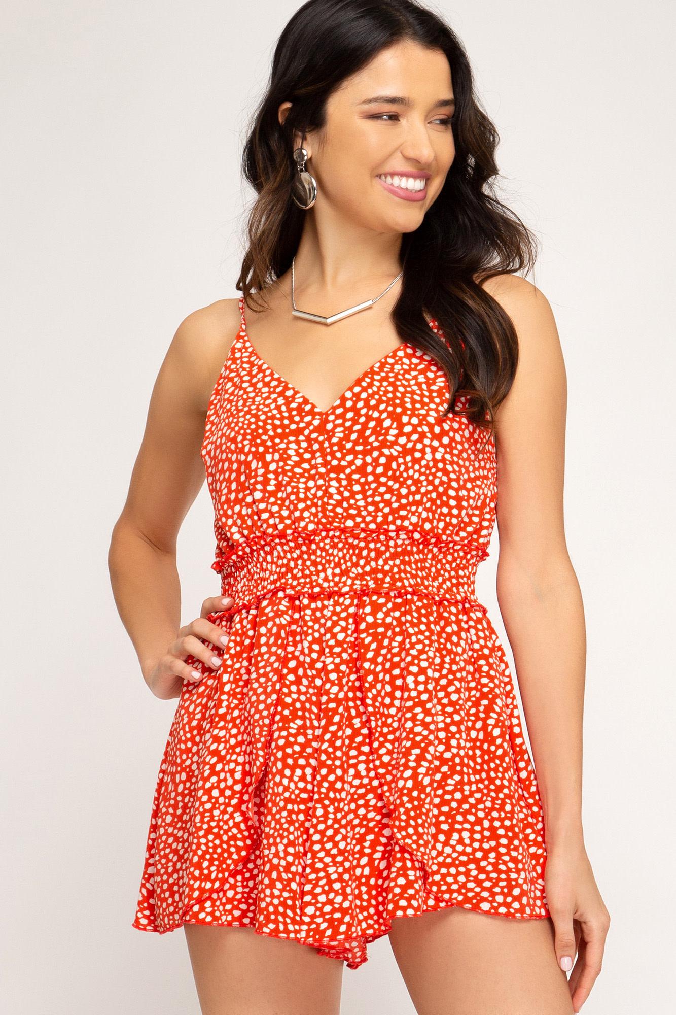 Red & white print sleeveless romper w/smocked waist