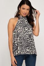 Grey leopard print halter neck top