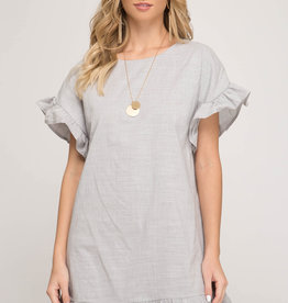 Short sleeve dress with ruffled sleeve & hem