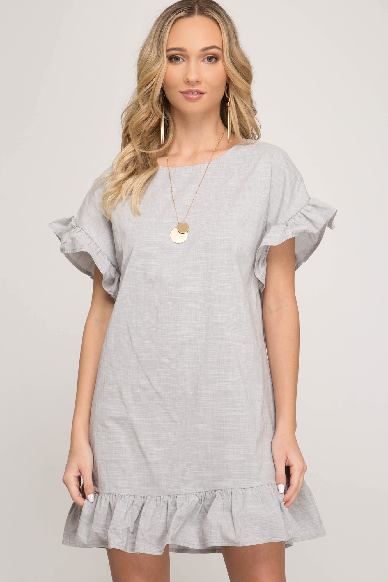SS dress w/ruffled sleeve & hem