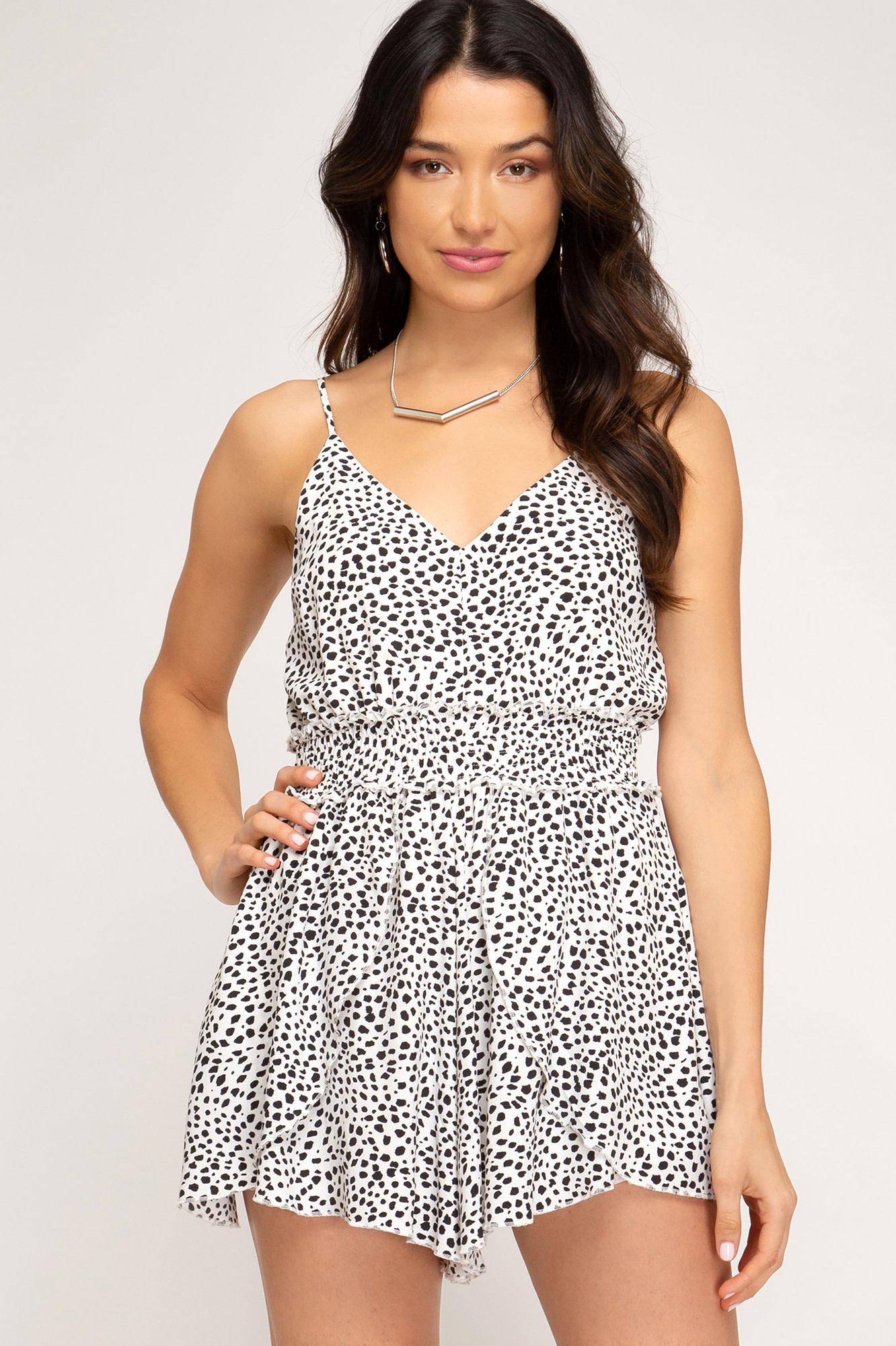 White & black print romper w/smocked waist