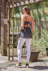 Black striped tank w/tie back