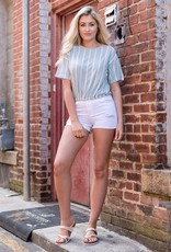 SS top elastic waist top w/stripe stitching
