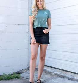 Black high rise denim skirt