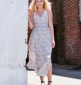 White geo stripe smocked waist maxi dress