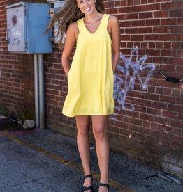 Yellow sleeveless shift dress