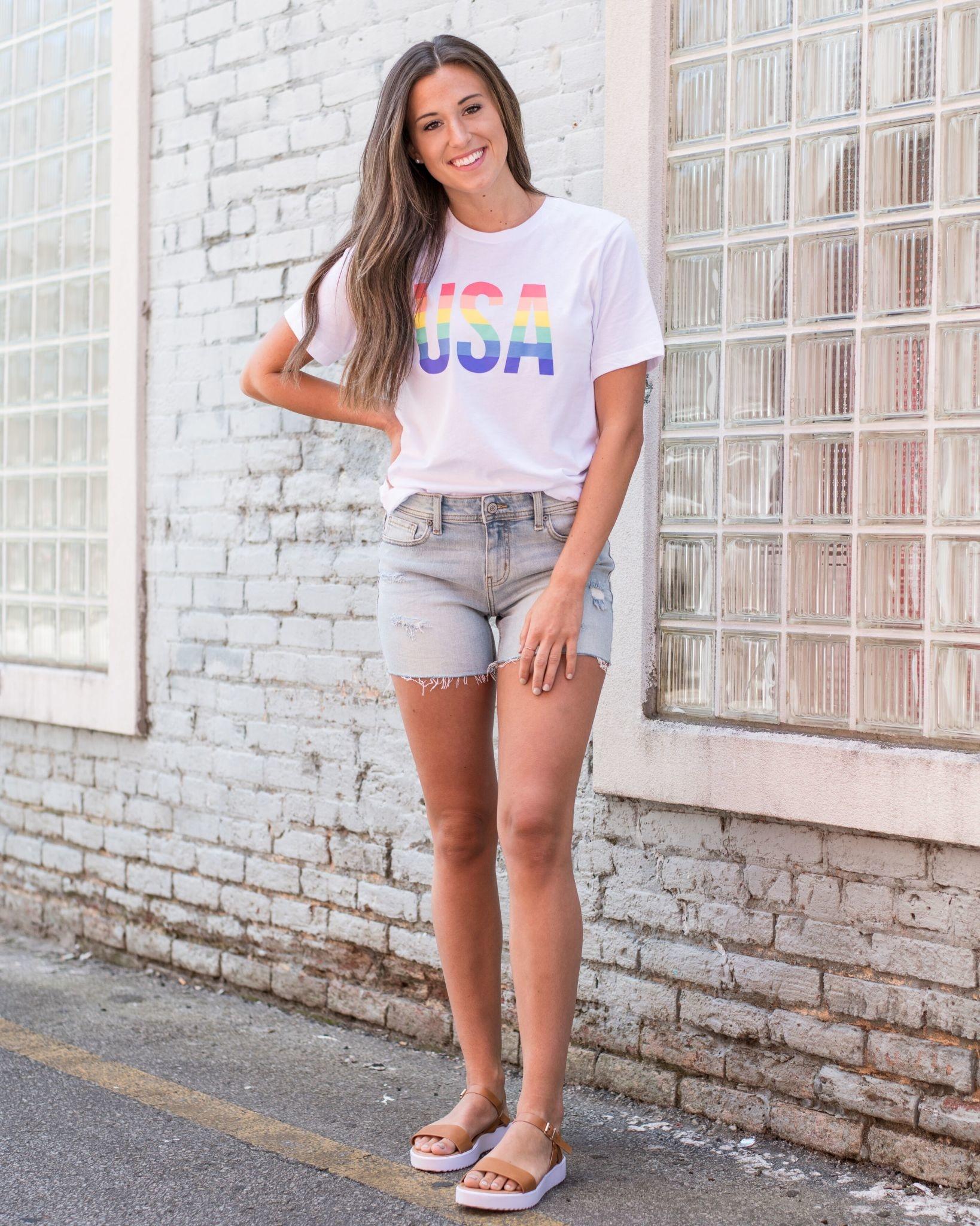 Rainbow USA tee