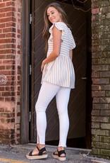 Taupe & white stripe ruffle sleeve top