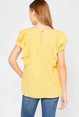 Mustard textured smocked top w/ruffle sleeves