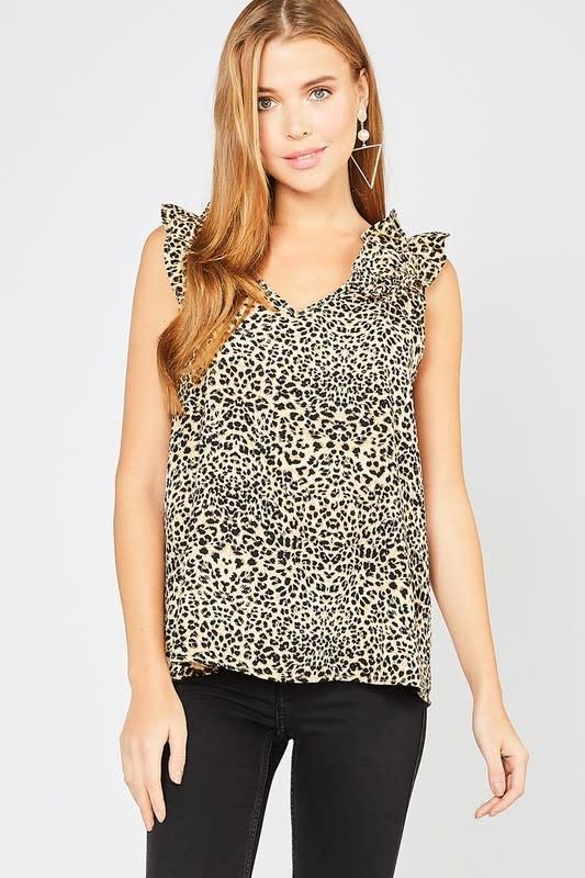 Brown cheetah frill top