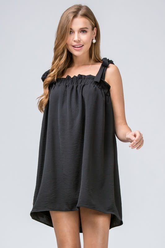 Black self tie strap dress