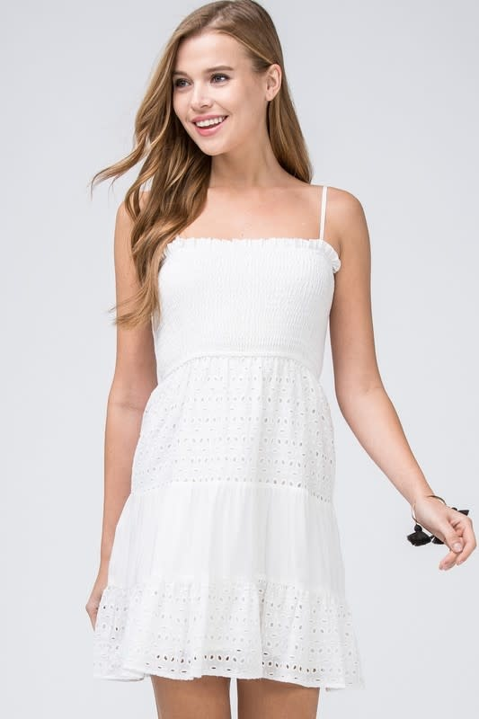 White eyelet lace tiered dress