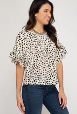 Cream flounce sleeve printed top