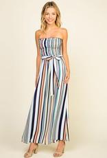 Multi color stripe strapless maxi dress