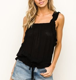 Black ruffle strap cinched top