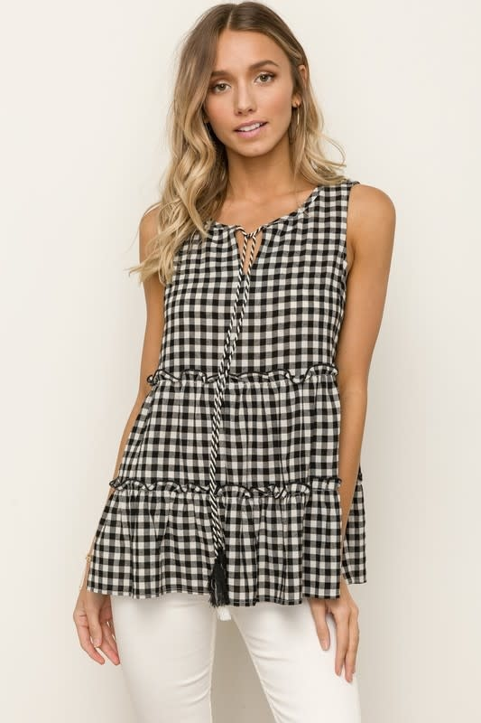 Black & white gingham tiered sleeveless top