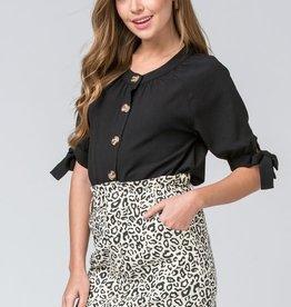 Leopard print paper bag skirt