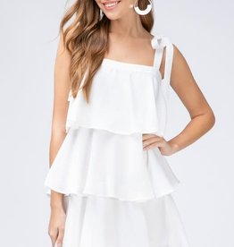White tiered square neck dress