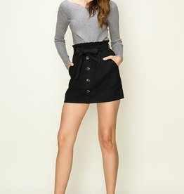 Black button front paper bag waist skirt