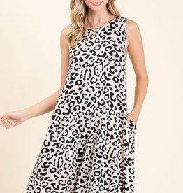 Oatmeal animal print sleeveless dress