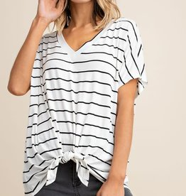 SS V neck striped tie front top