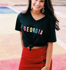 Black GEORGIA rainbow V neck tee