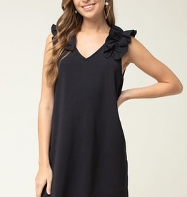Black frill V neck dress