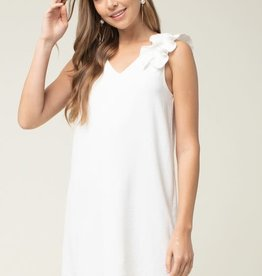 White V neck frill dress