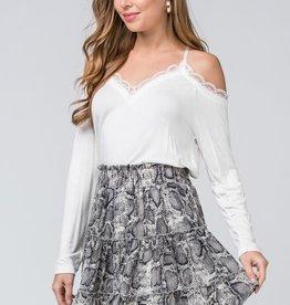 Grey snake print tiered skirt