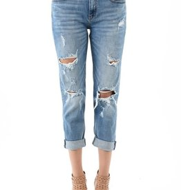 Lt wash low rise distressed girlfriend jeans