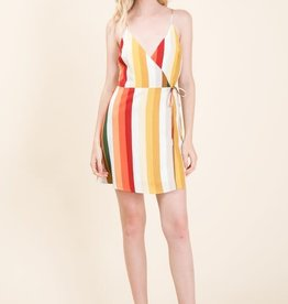 Multi color stripe wrap dress