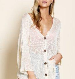 Cream V neck button down sweater