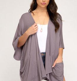 Drop shoulder knit cardigan