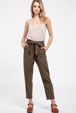 Olive high waist tie pants